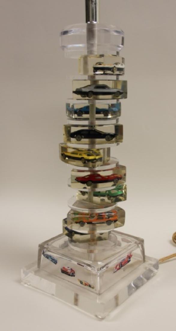 (2)Lucite Lamps Encased Matchbox Cars in Camshaft - 8