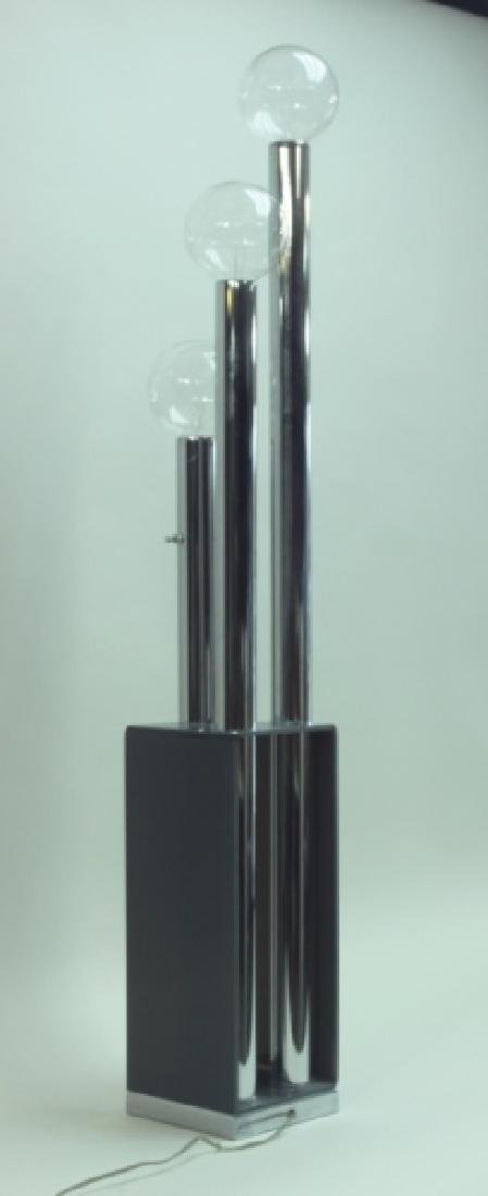 MCM 3-Tier Chrome & Smoked Lucite Floor Lamp - 4