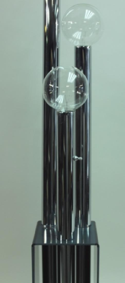 MCM 3-Tier Chrome & Smoked Lucite Floor Lamp - 6