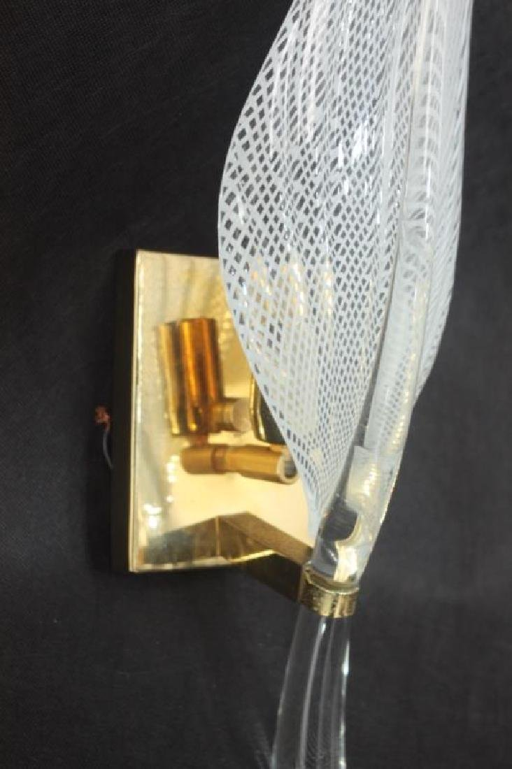 Vintage Murano Glass Fern Leaf Wall Sconce - 3