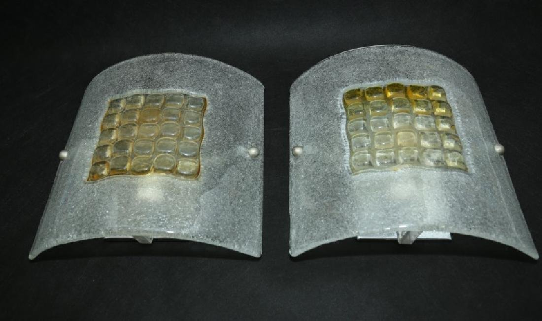Pair Murano Fused & Frosted Curved Glass Sconces - 3