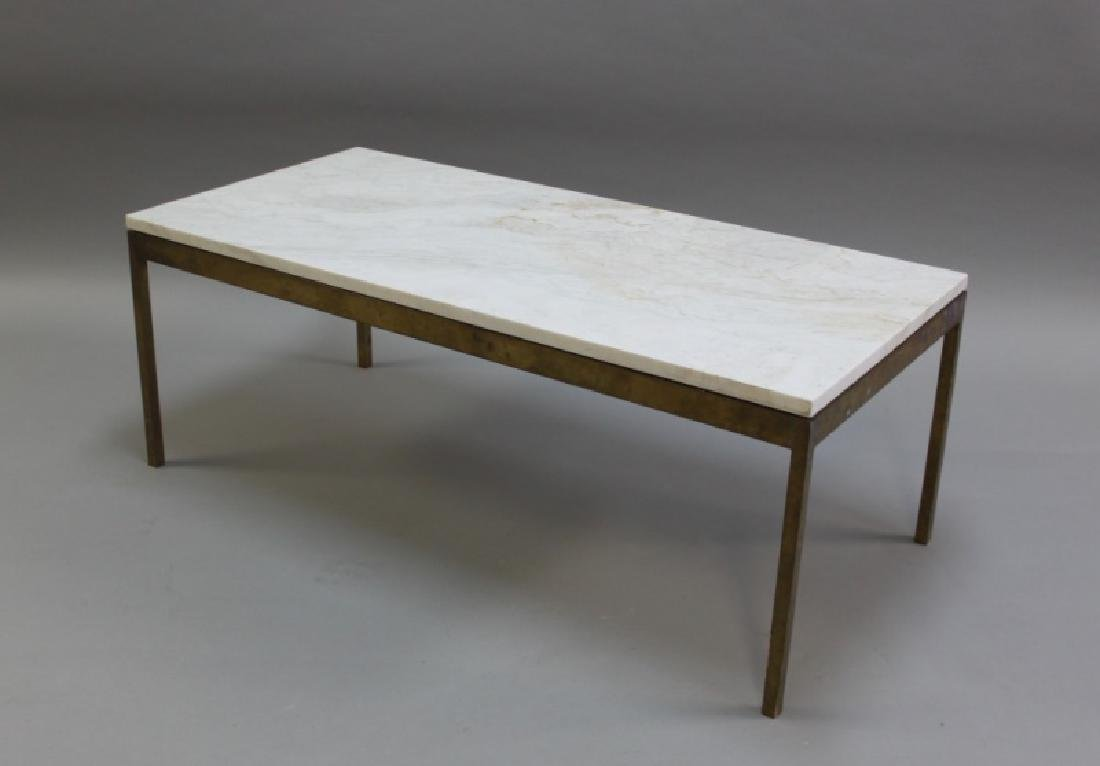Florence Knoll Solid Brass & Marble Coffee Table