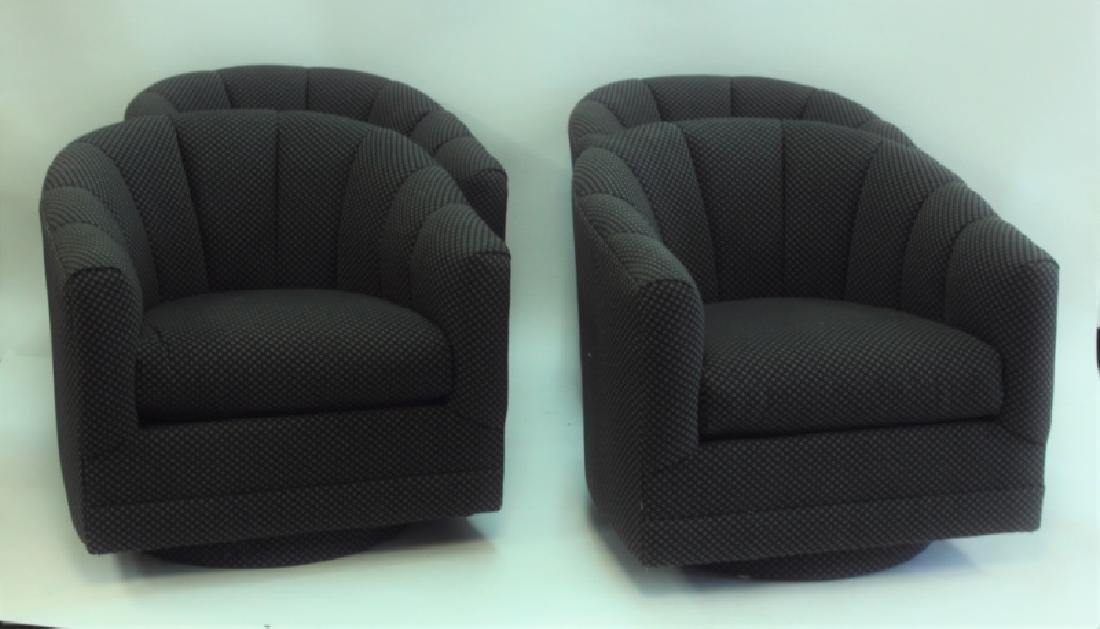 (4) Milo Baughman Swivel Base Tub Chairs