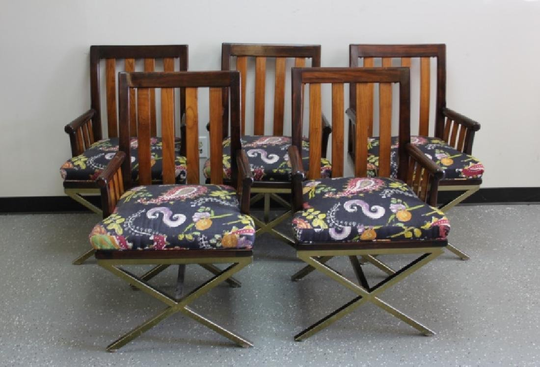 (5) MCM Danish 2-Toned Wood & Brass Arm Chairs
