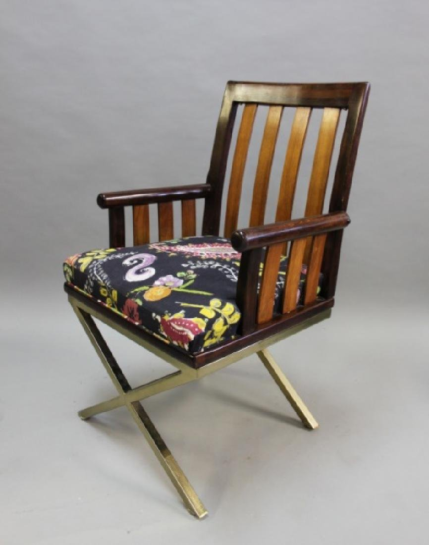 (5) MCM Danish 2-Toned Wood & Brass Arm Chairs - 2