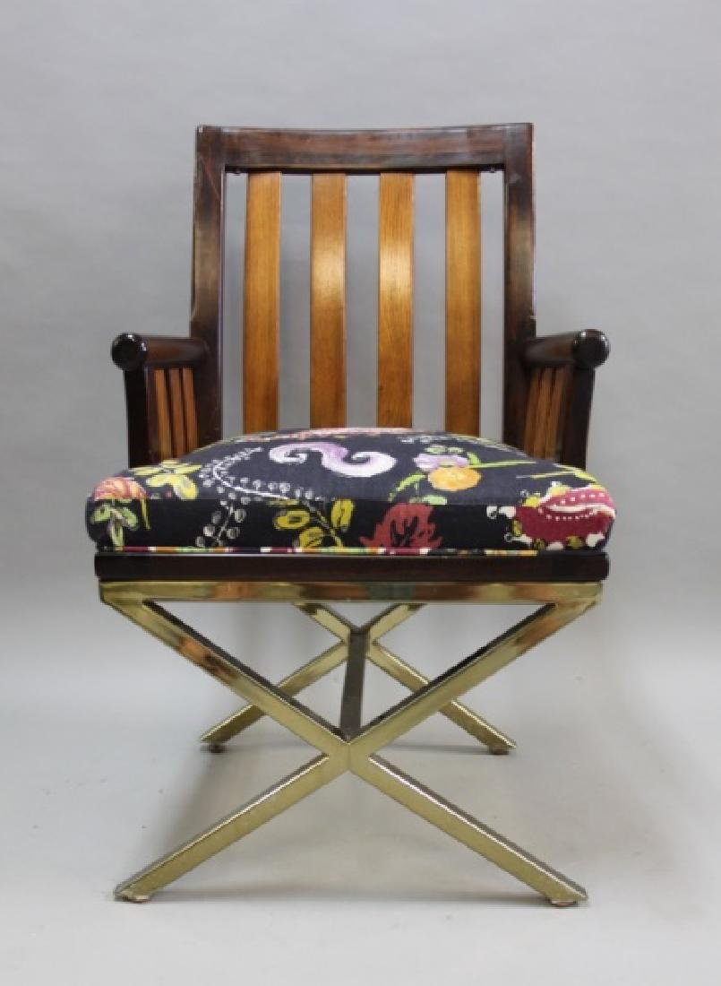 (5) MCM Danish 2-Toned Wood & Brass Arm Chairs - 4