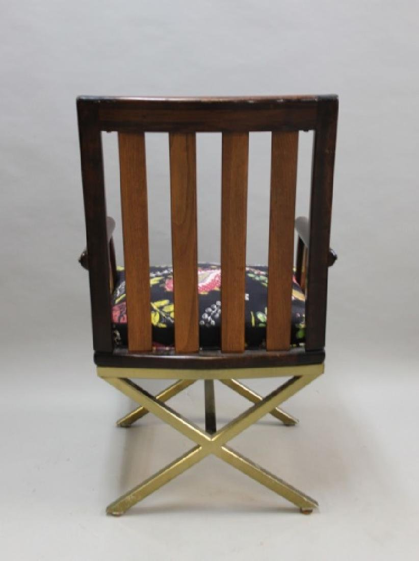 (5) MCM Danish 2-Toned Wood & Brass Arm Chairs - 9