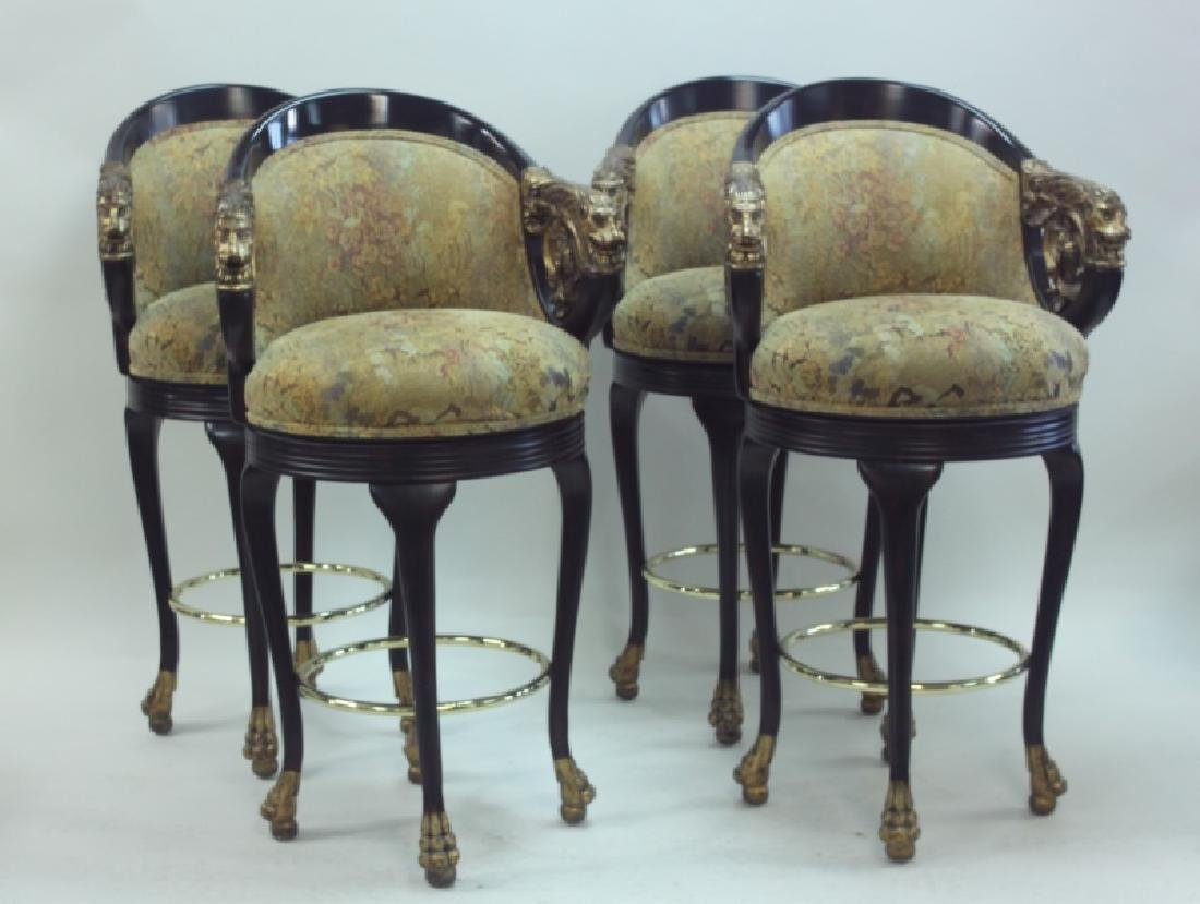 (4) Regency Barstools w Lion Heads & Claw Feet