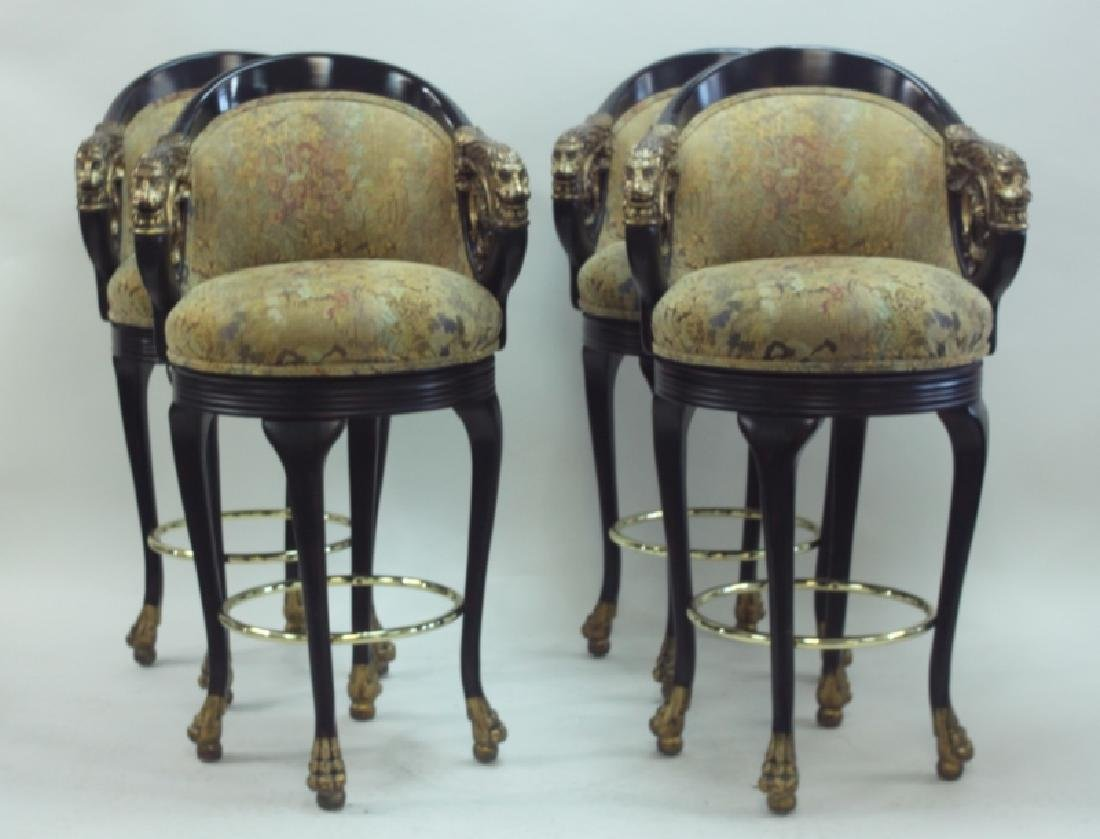 (4) Regency Barstools w Lion Heads & Claw Feet - 2