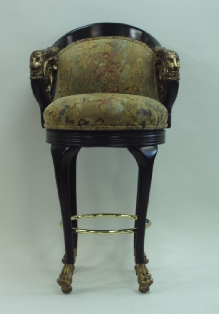 (4) Regency Barstools w Lion Heads & Claw Feet - 9