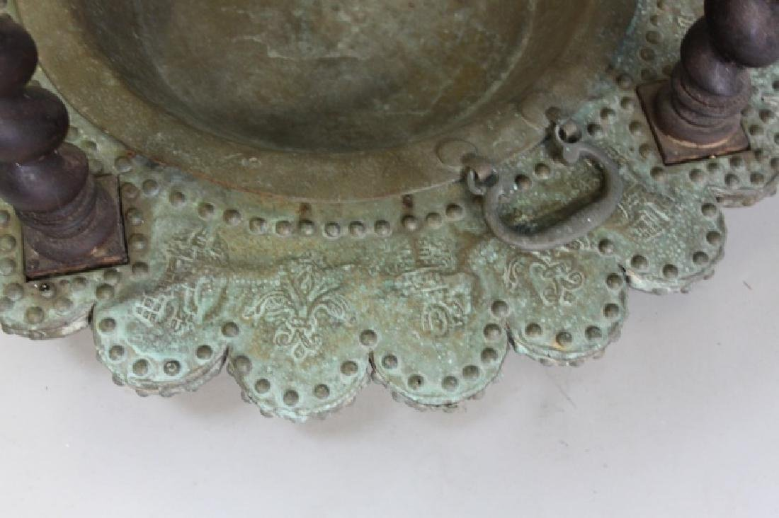 Mizner Spanish Embossed Brass Brazier Dated 1617 - 10