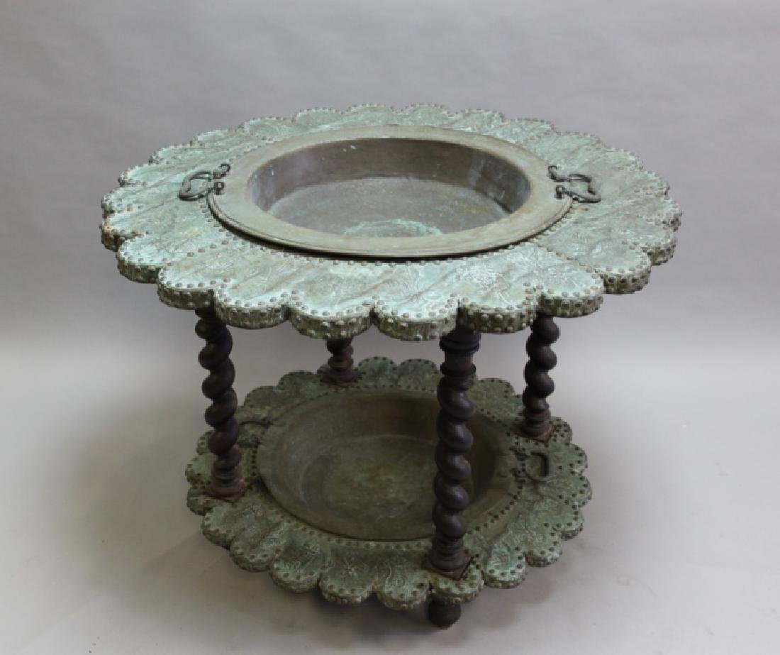 Mizner Spanish Embossed Brass Brazier Dated 1617