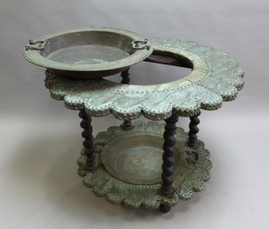 Mizner Spanish Embossed Brass Brazier Dated 1617 - 4