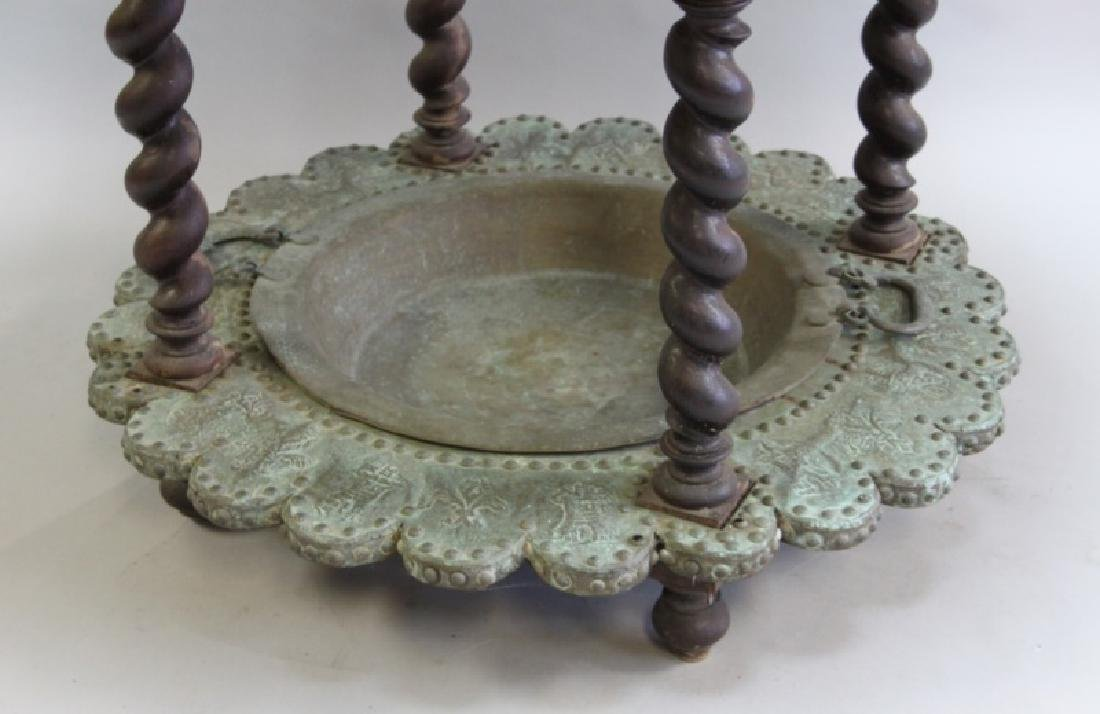 Mizner Spanish Embossed Brass Brazier Dated 1617 - 6