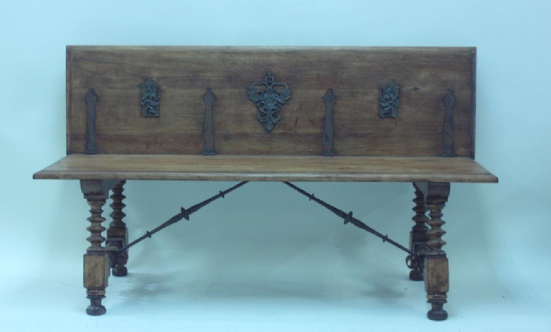 19/18C Church Bench w Bronze Crest & Wrought Iron