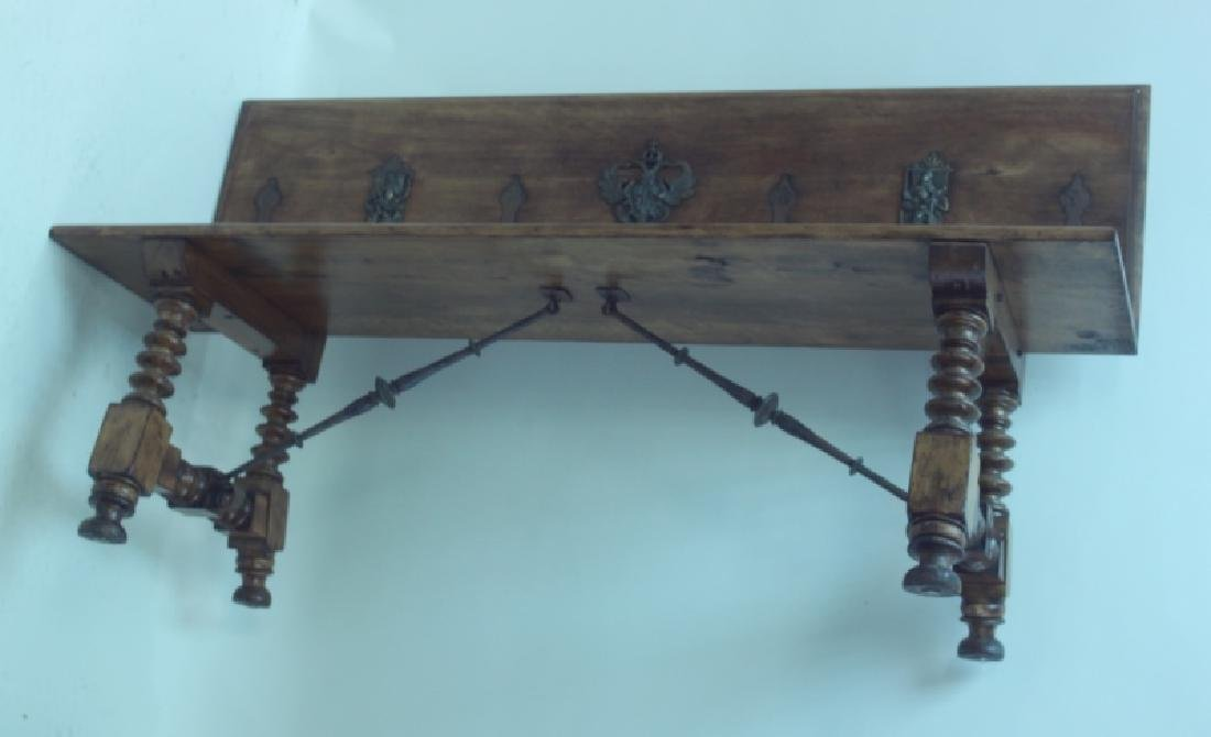 19/18C Church Bench w Bronze Crest & Wrought Iron - 2