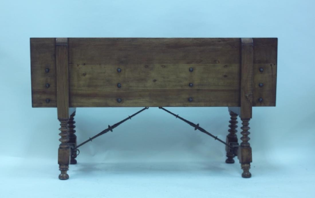 19/18C Church Bench w Bronze Crest & Wrought Iron - 3