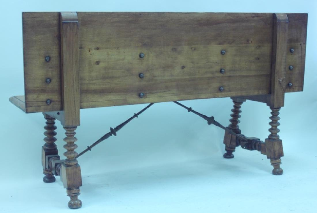 19/18C Church Bench w Bronze Crest & Wrought Iron - 4