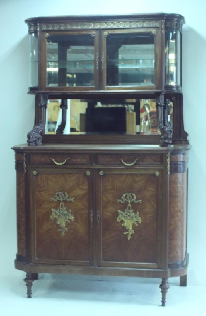 19C Louis XVI Sideboard / Server w Vitrine Cabinet