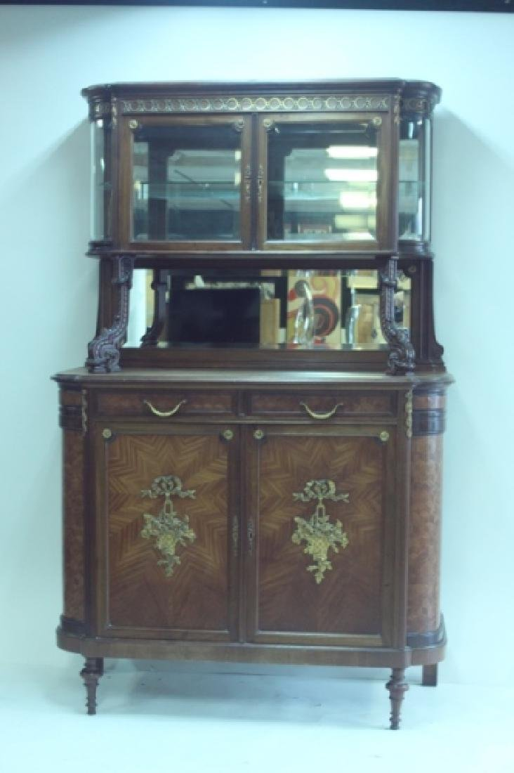 19C Louis XVI Sideboard / Server w Vitrine Cabinet - 2