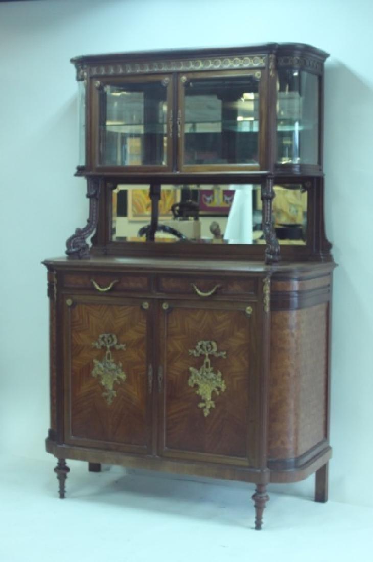 19C Louis XVI Sideboard / Server w Vitrine Cabinet - 3