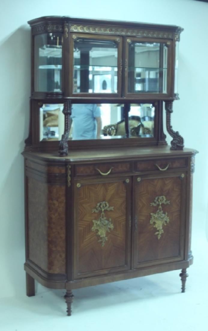 19C Louis XVI Sideboard / Server w Vitrine Cabinet - 4