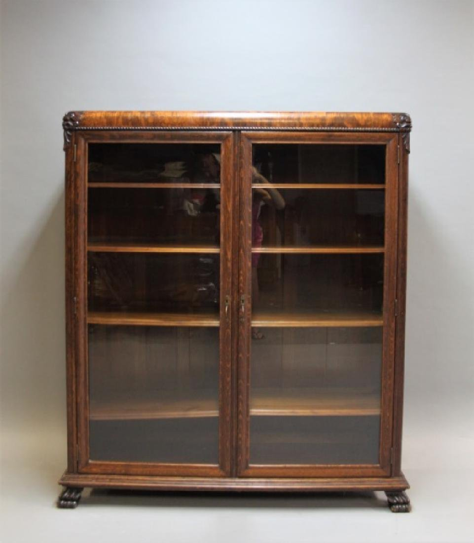 Antique 19C 2-Door Tiger Oak Barrister's Bookcase