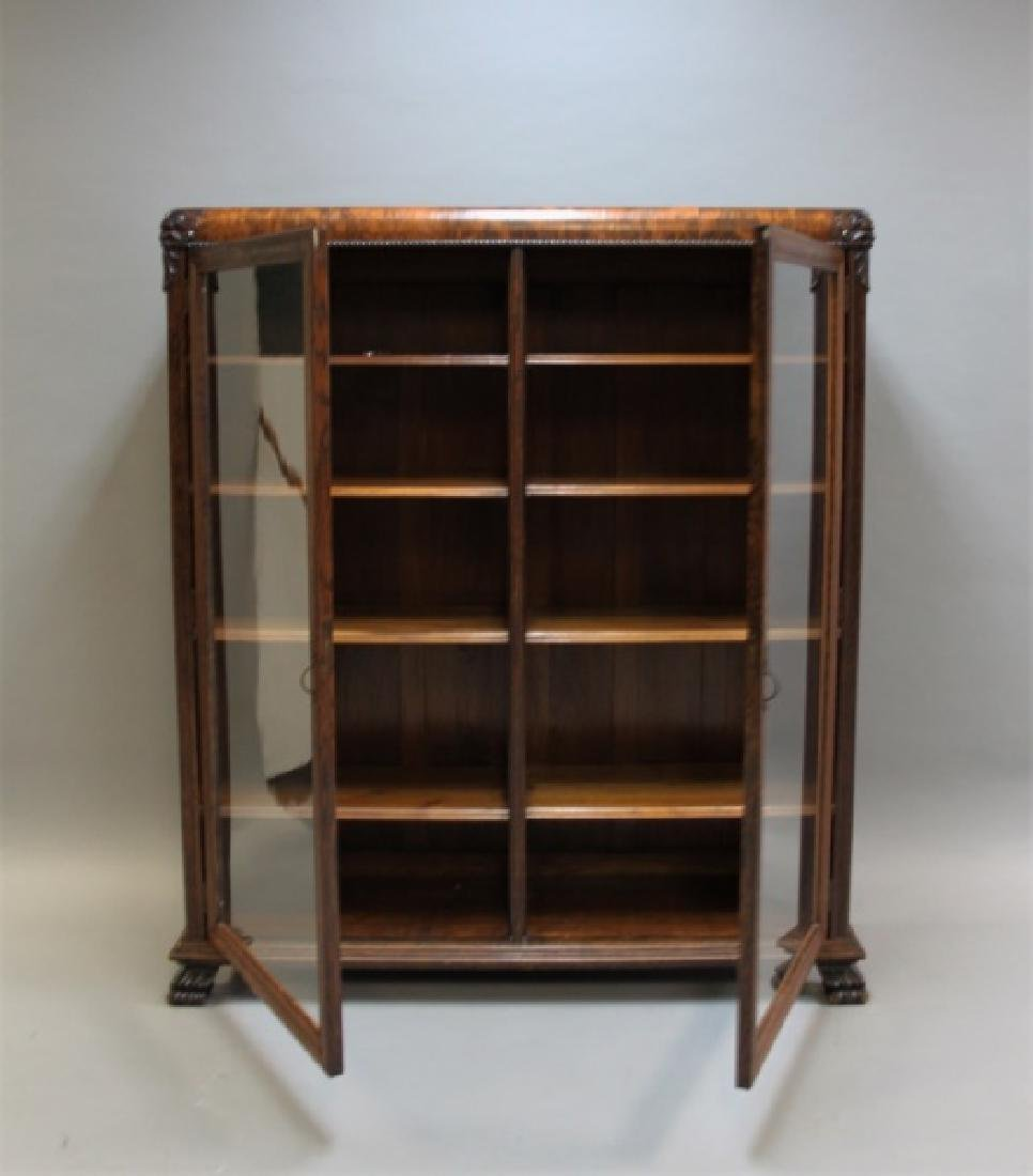 Antique 19C 2-Door Tiger Oak Barrister's Bookcase - 3