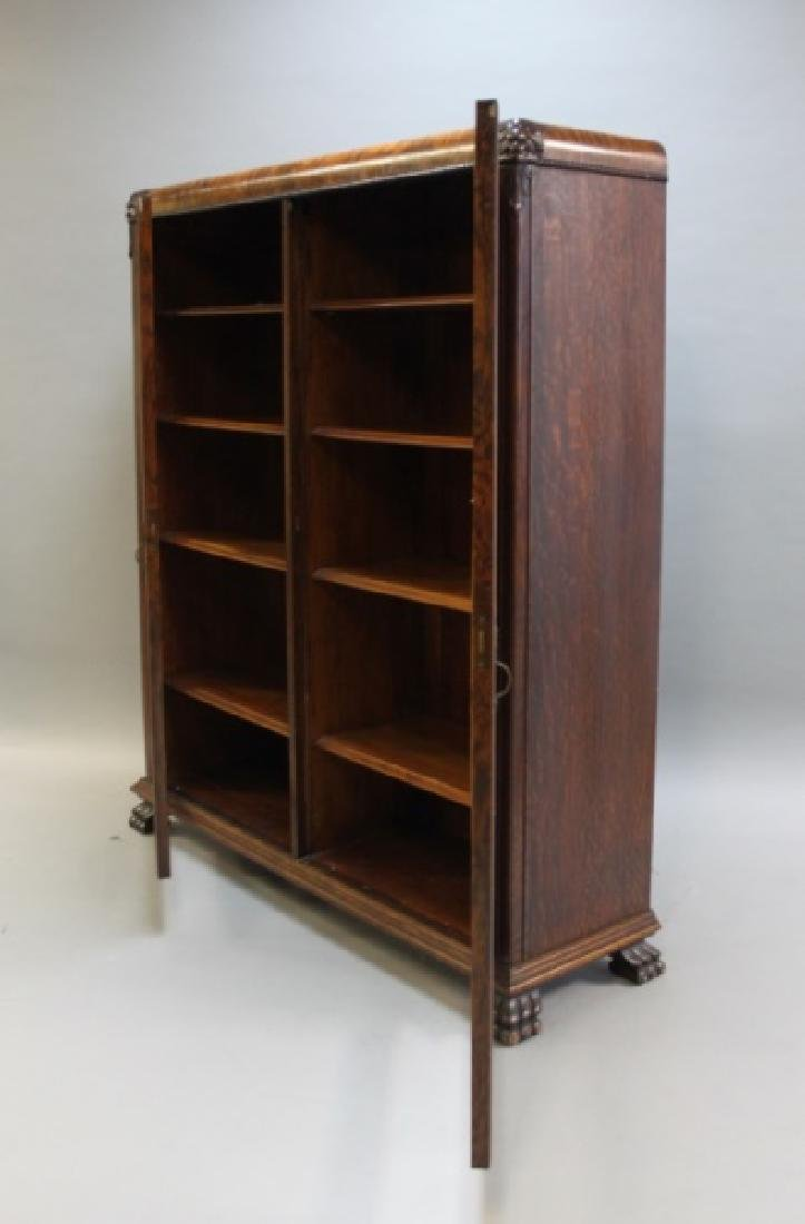 Antique 19C 2-Door Tiger Oak Barrister's Bookcase - 4