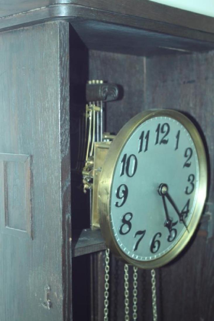 Arts & Crafts Bavarian Oak Grand Fathers Clock - 5