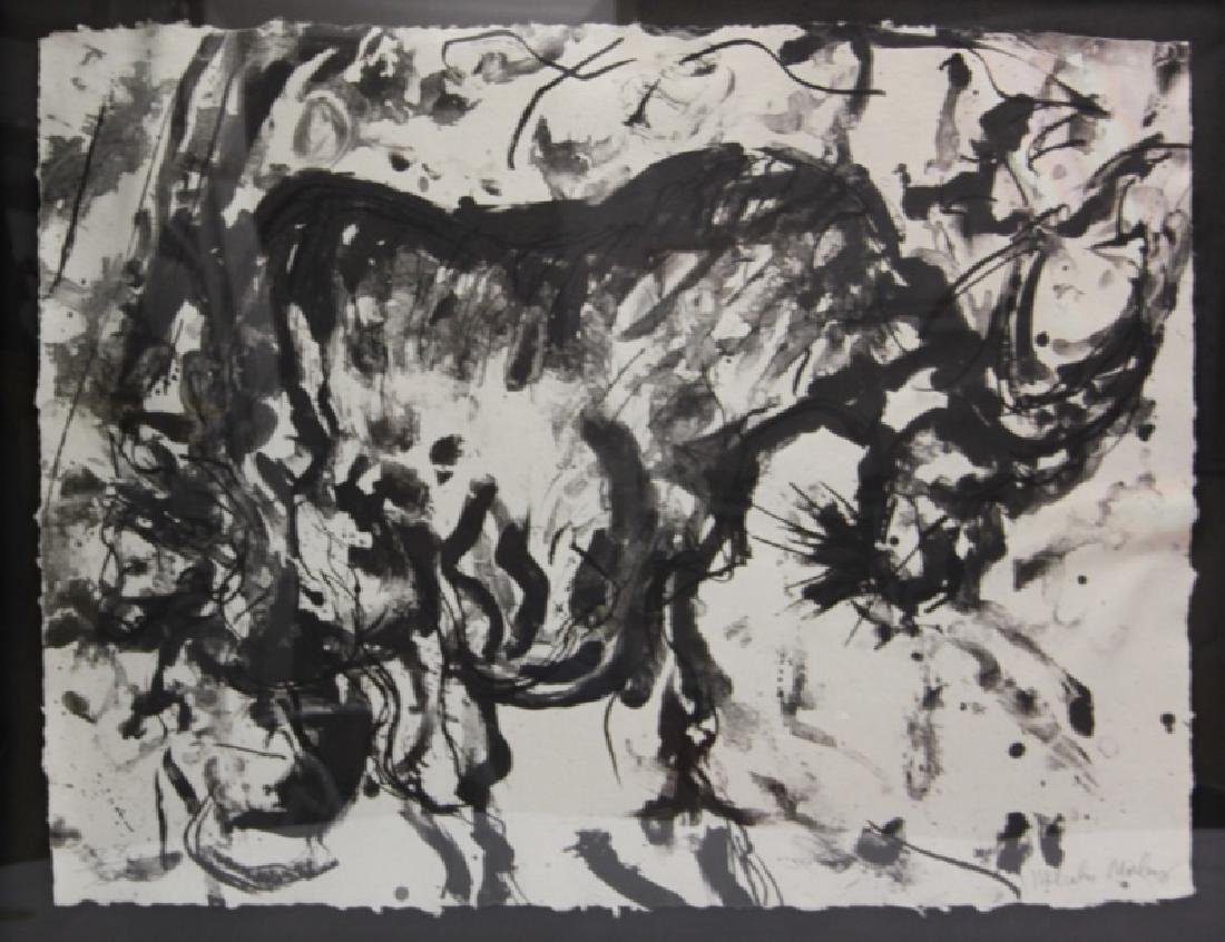 Malcolm Morley (b1931) Abstract Ink Monotype Bull