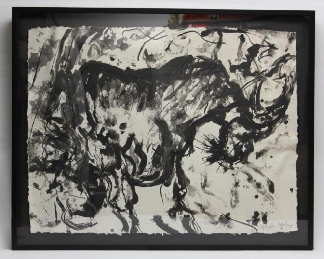Malcolm Morley (b1931) Abstract Ink Monotype Bull - 2