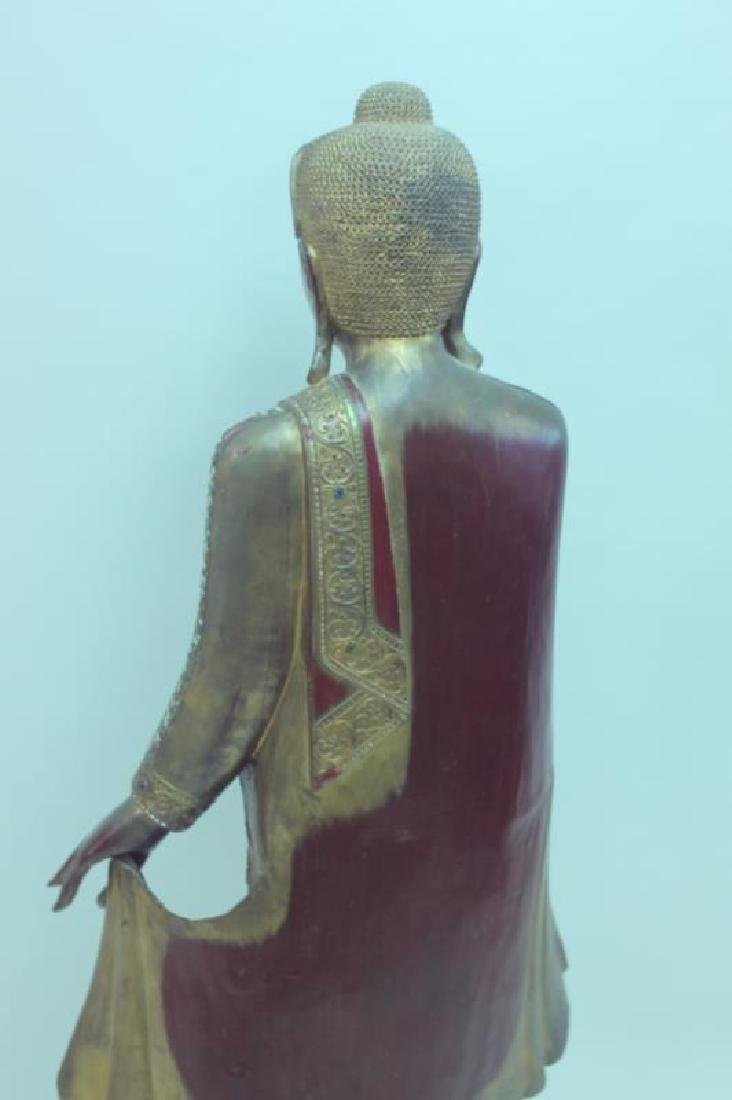 Large Burmese Mandalay Buddha w Mirror Inlaid - 6