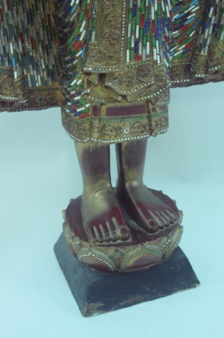 Large Burmese Mandalay Buddha w Mirror Inlaid - 7