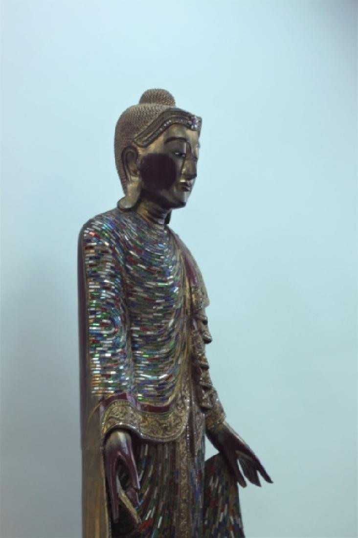 Large Burmese Mandalay Buddha w Mirror Inlaid - 8