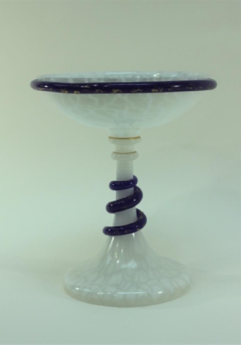 Art Deco French Opaline Art Glass Tazza w Serpents - 3