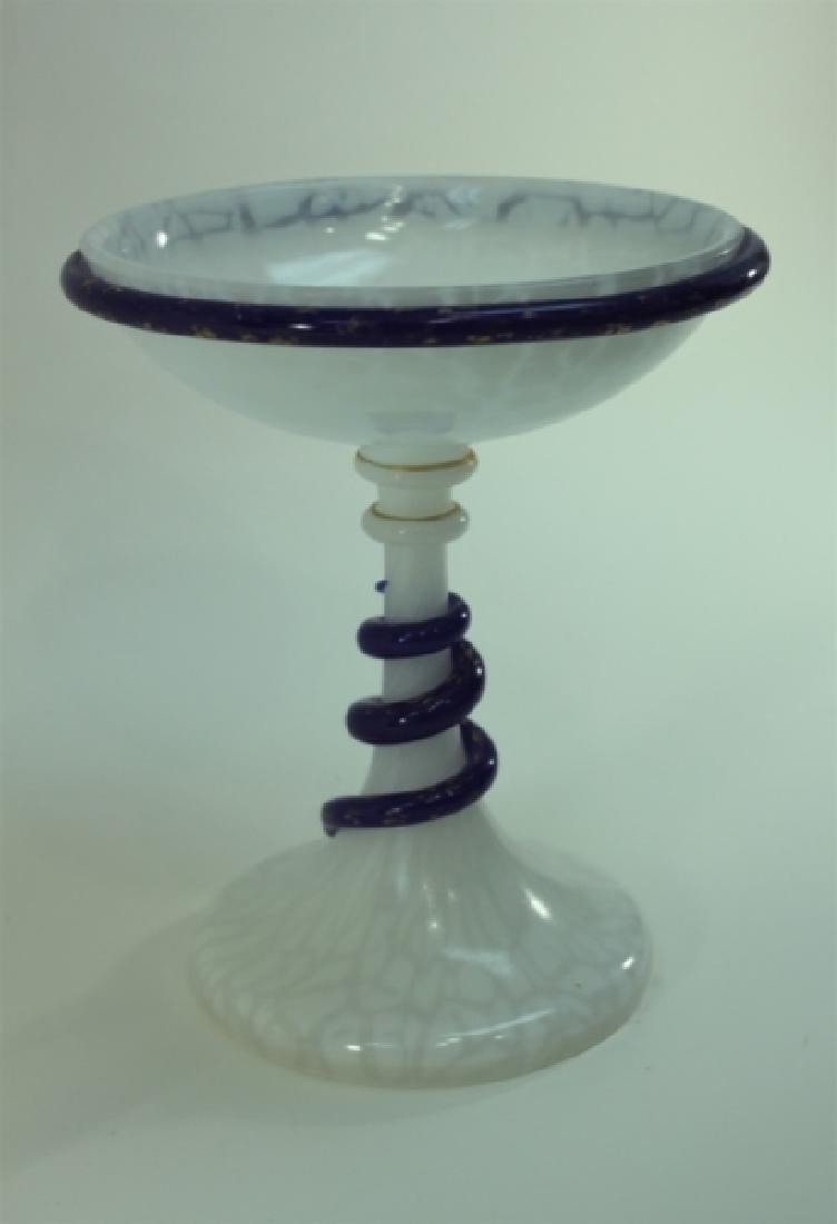 Art Deco French Opaline Art Glass Tazza w Serpents - 4