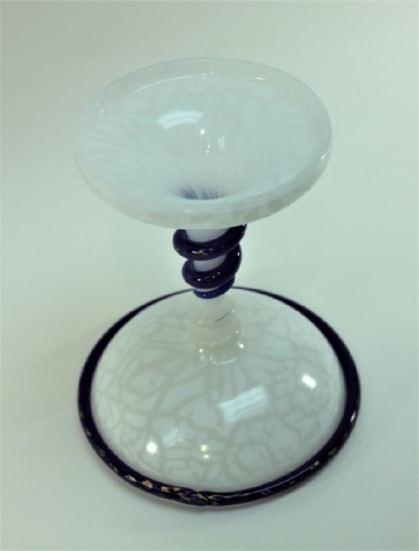 Art Deco French Opaline Art Glass Tazza w Serpents - 6