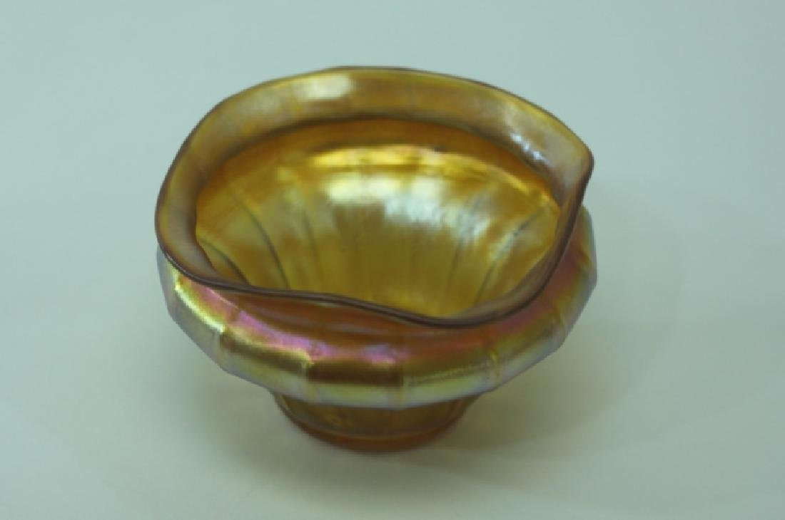 LCT Tiffany Favrile Quezel Iridescent Gold Finger Bowl - 6