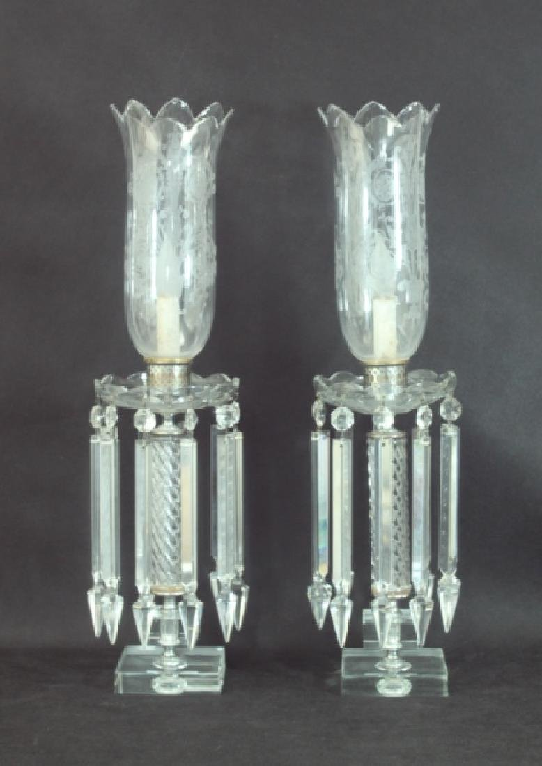 Pr Hurricane Lamps Crystal Prisms & Etched Shades