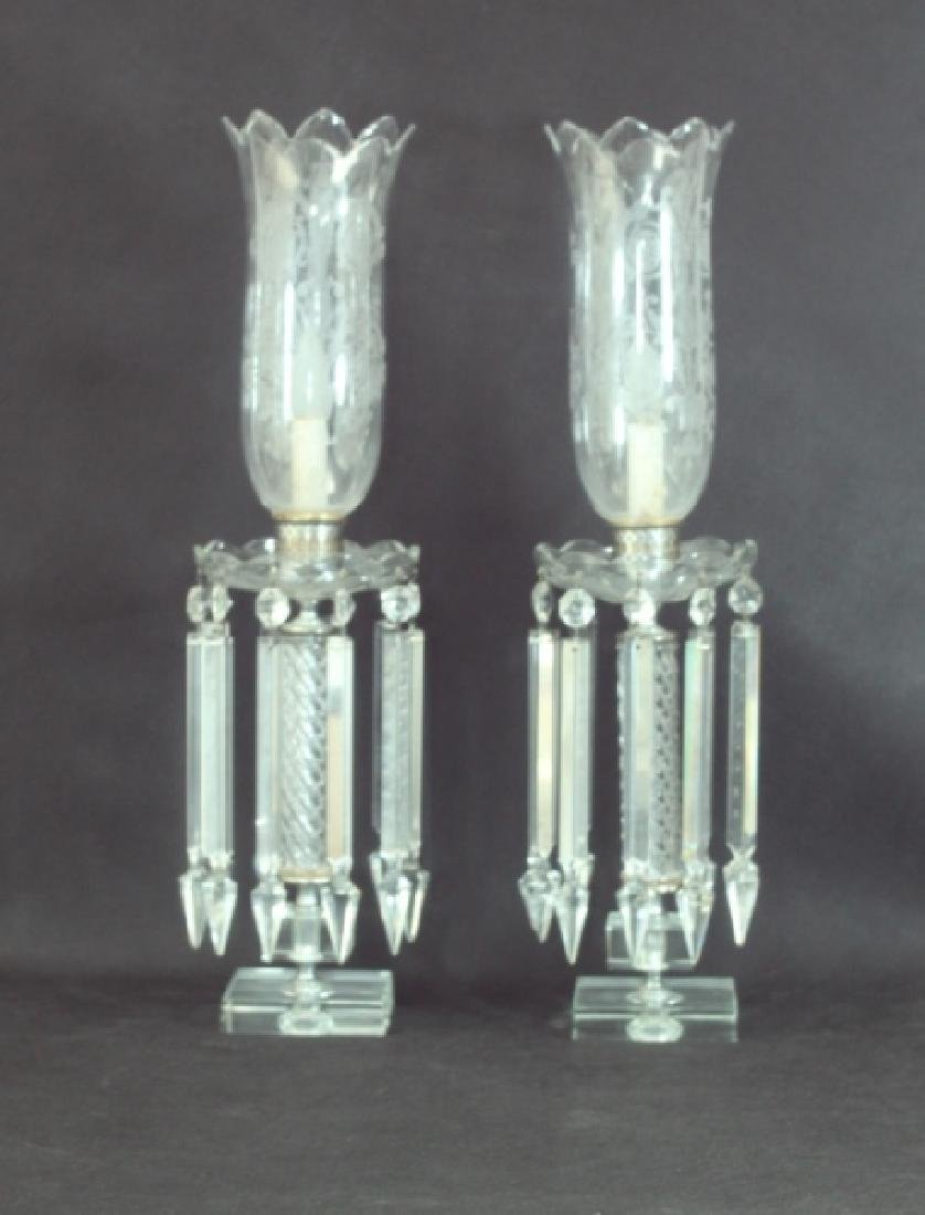 Pr Hurricane Lamps Crystal Prisms & Etched Shades - 6