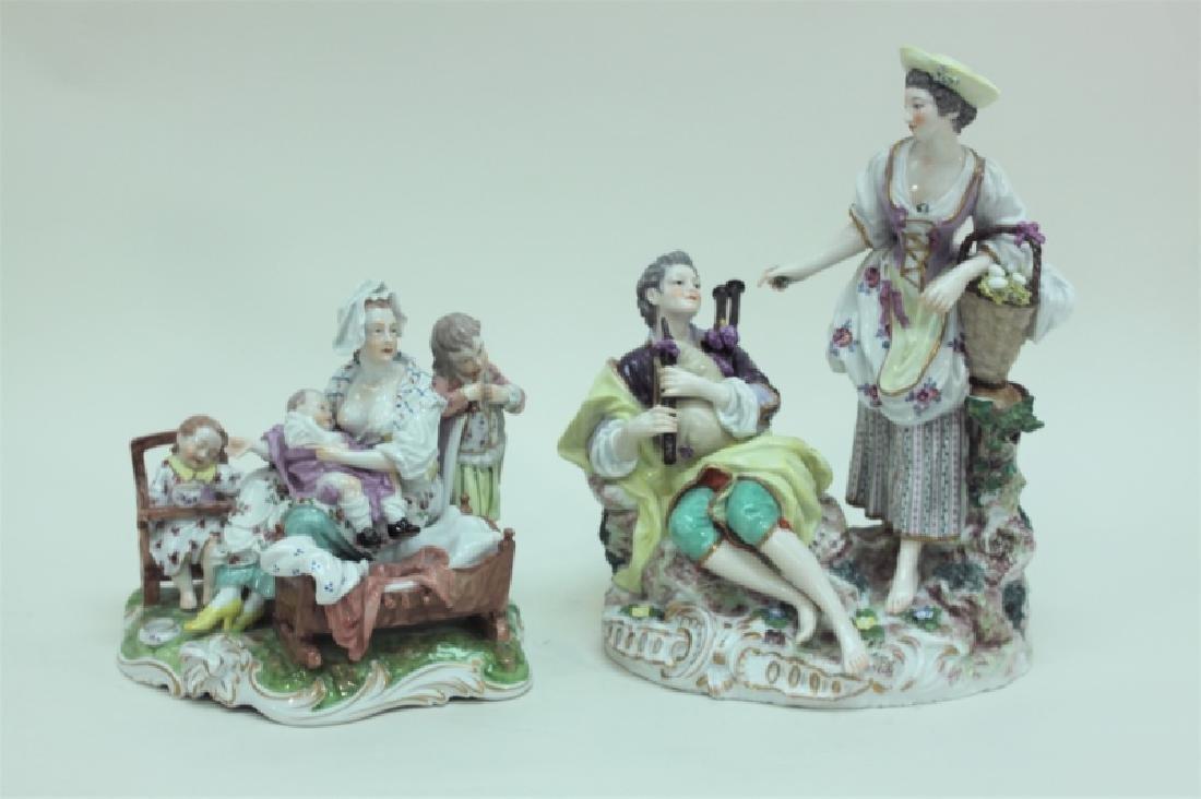 (2) 19C Royal Vienna Porcelain Figural Groups