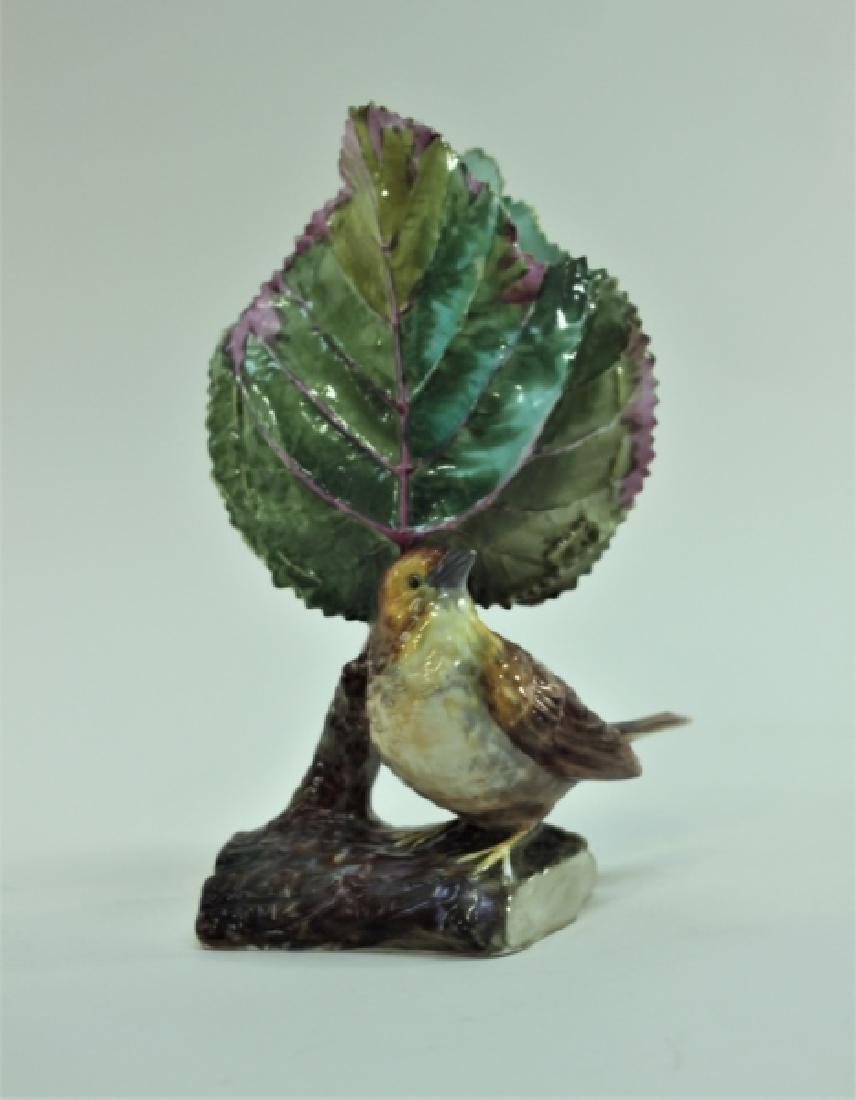 19c Dresden Porcelain Naturalist Leaf Vase w Finch