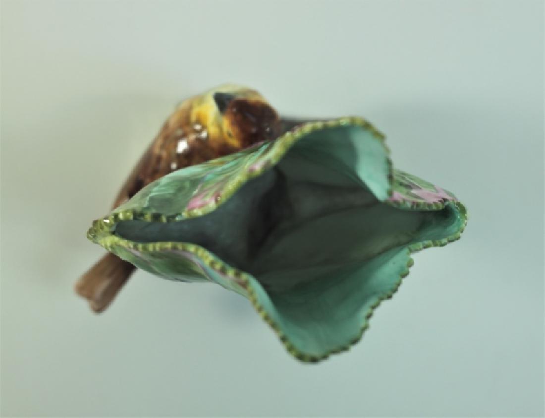 19c Dresden Porcelain Naturalist Leaf Vase w Finch - 2