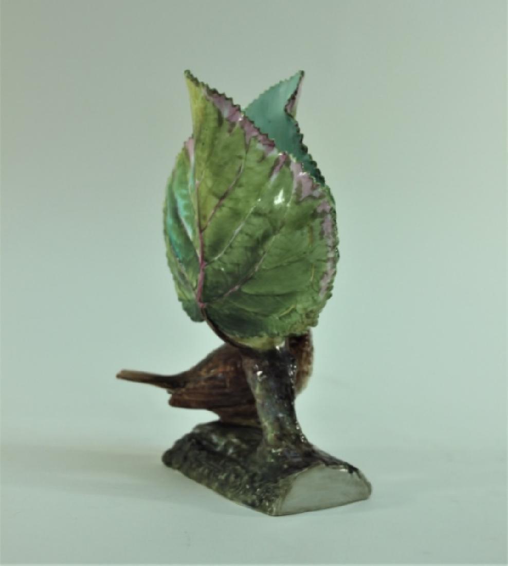 19c Dresden Porcelain Naturalist Leaf Vase w Finch - 4