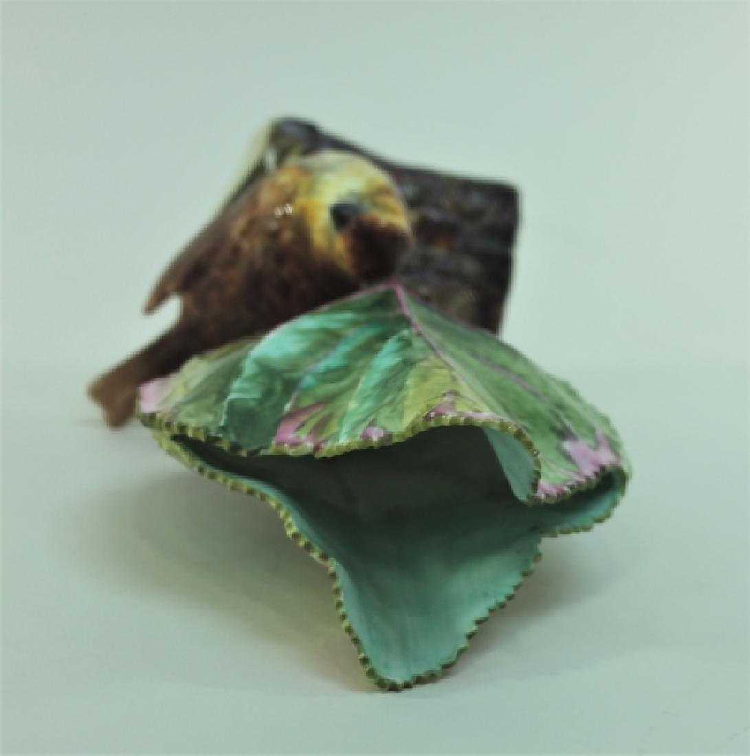 19c Dresden Porcelain Naturalist Leaf Vase w Finch - 7