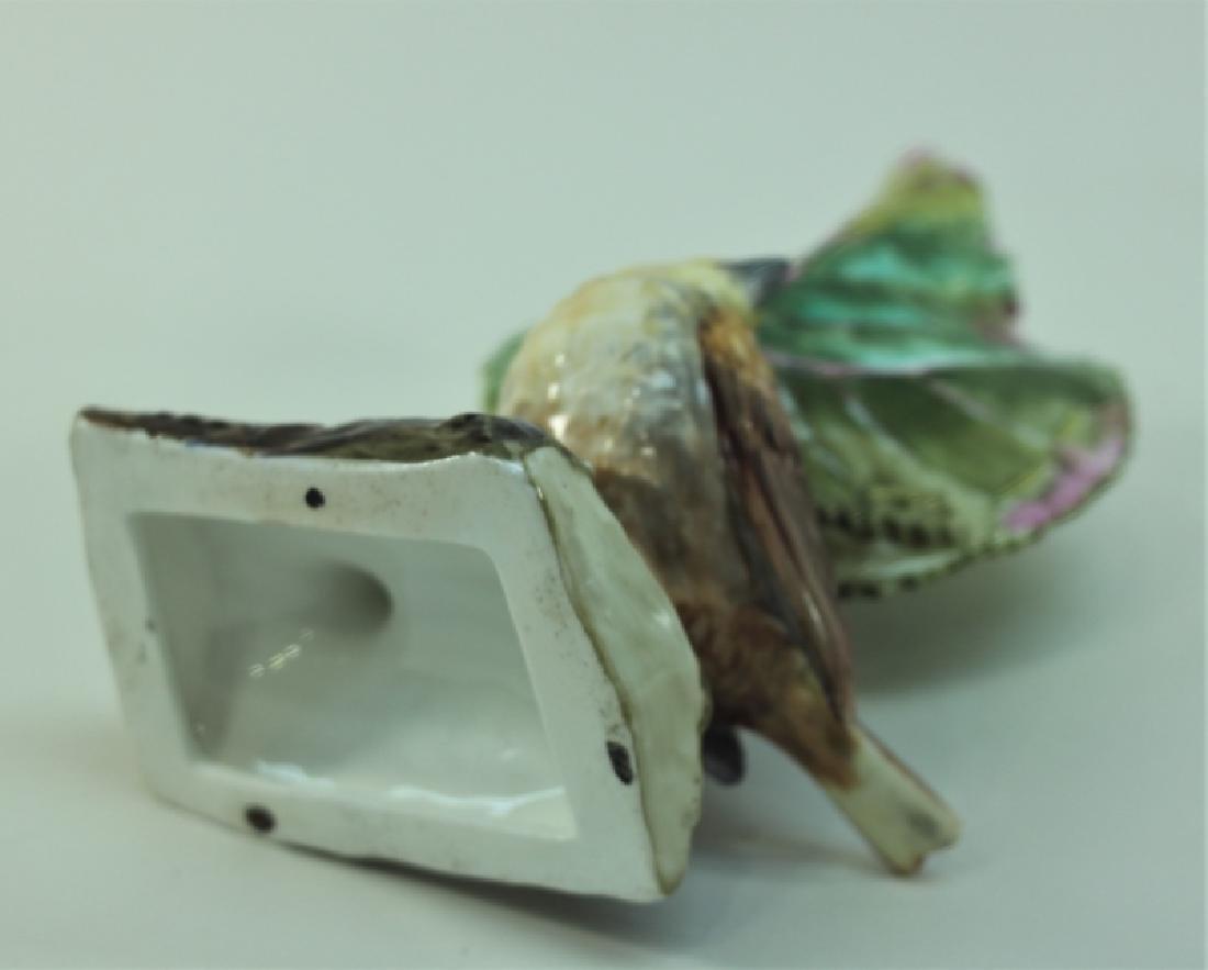 19c Dresden Porcelain Naturalist Leaf Vase w Finch - 8