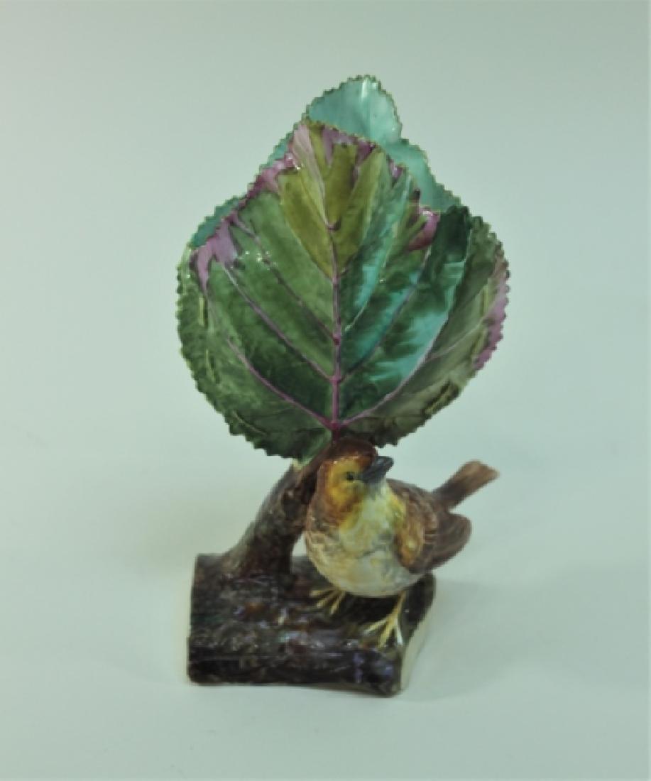 19c Dresden Porcelain Naturalist Leaf Vase w Finch - 9