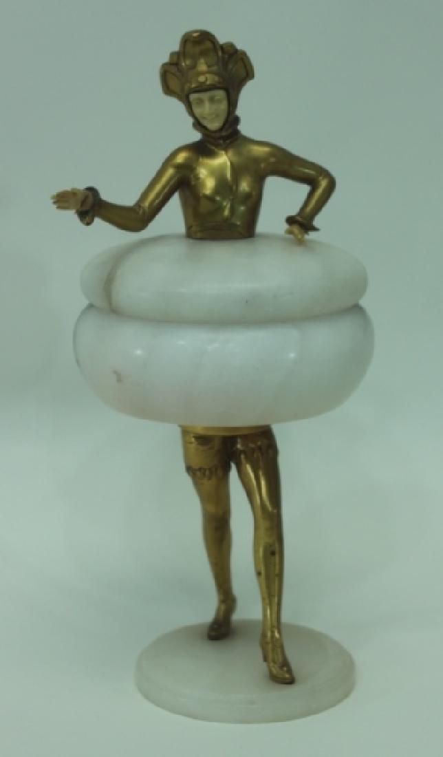 Art Deco Gilt Metal Female Figural Alabaster Jar