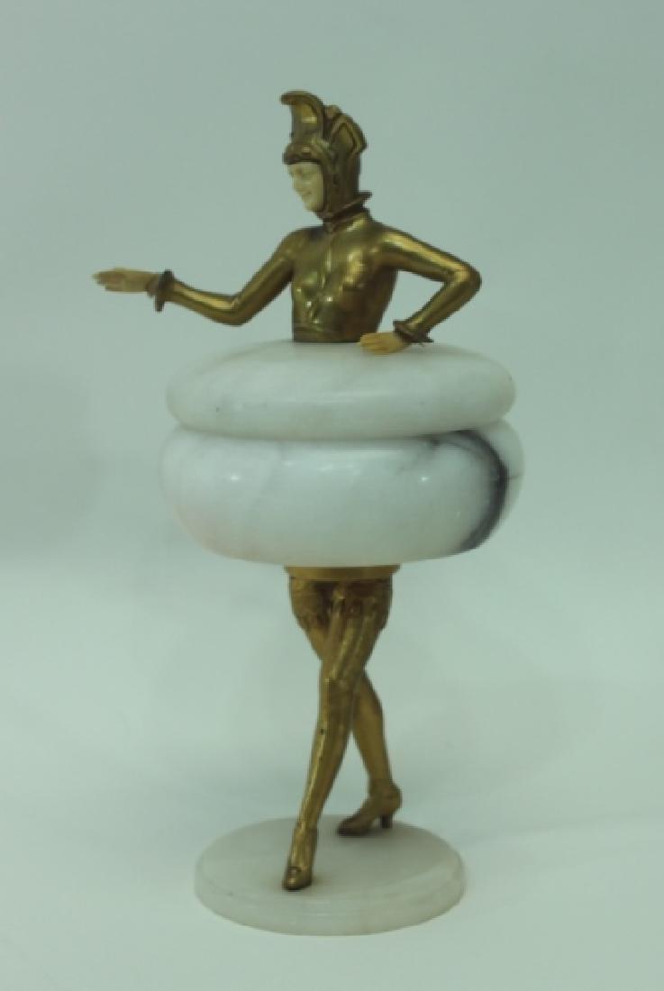 Art Deco Gilt Metal Female Figural Alabaster Jar - 2